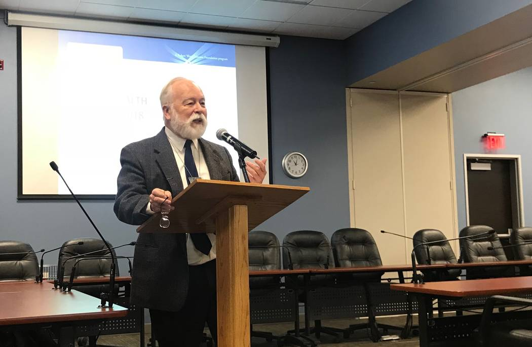 Southern Nevada Health District Chief Health Officer Joe Iser speaks to a crowd of state and local health officials on 2018 health rankings for Nevada's counties on Wednesday, March 14, 2018. (Jes ...