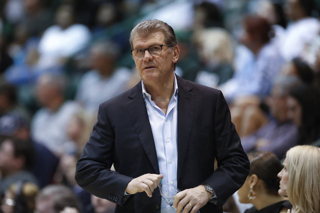 In this Feb. 21, 2018, file photo, Connecticut head coach Geno Auriemma watches the action in the second half of an NCAA basketball game against Tulane, in New Orleans. (AP Photo/Scott Threlkeld,  ...