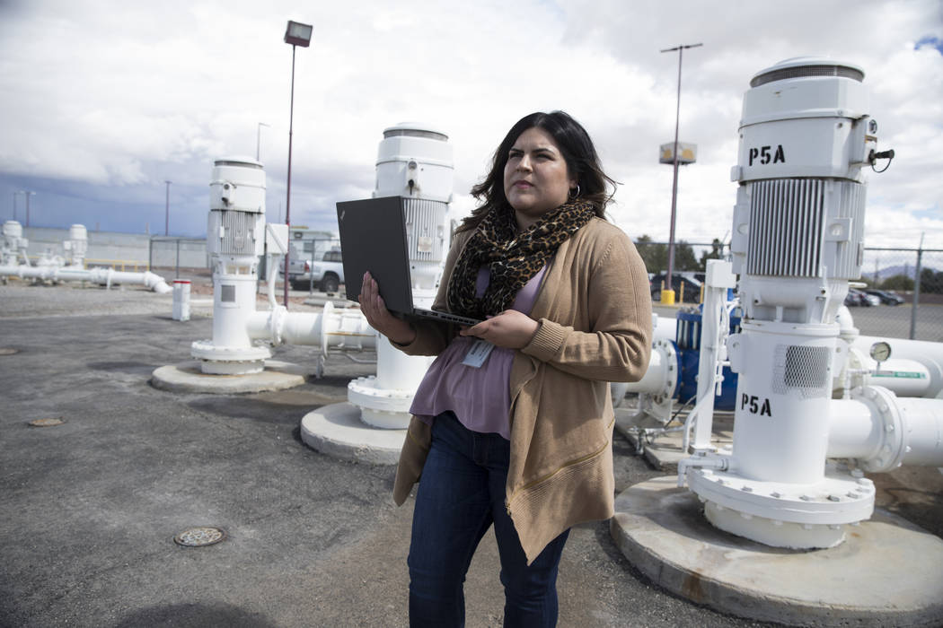 Dianne Ocon, engineering services supervisor for the Las Vegas Valley Water District, during a demonstration of RedEye, a mobile engineering drawing management software recently adopted by the LVV ...