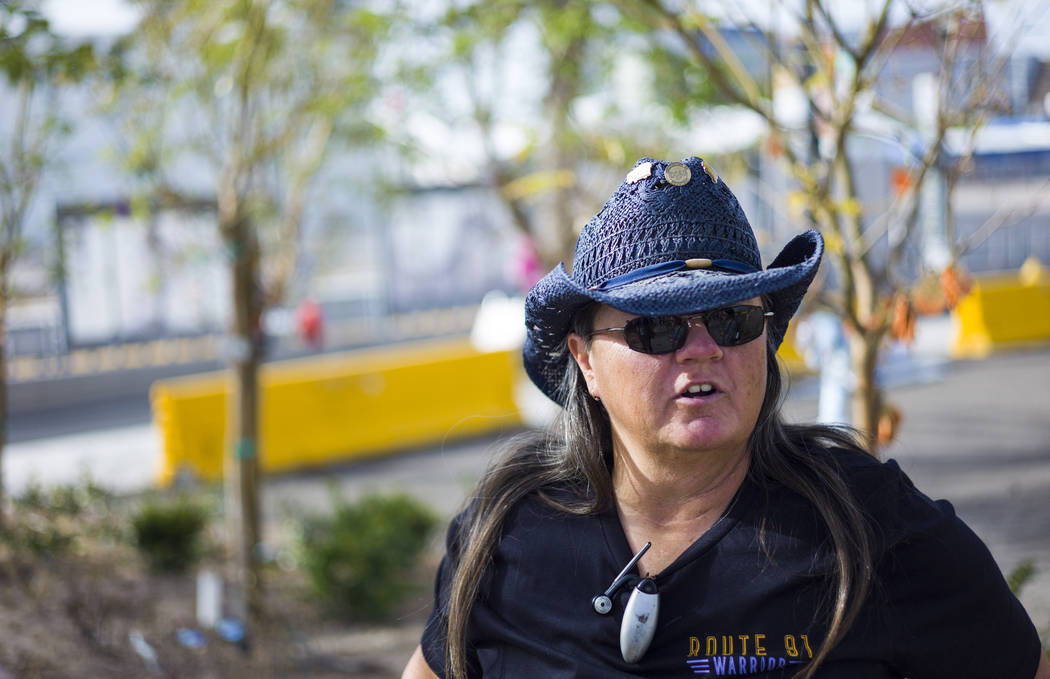 Oct. 1 shooting survivor Sue Ann Cornwell at the Community Healing Garden in downtown Las Vegas on Friday, March 9, 2018. Cornwell and Lujan were visiting one another for the first time since the  ...