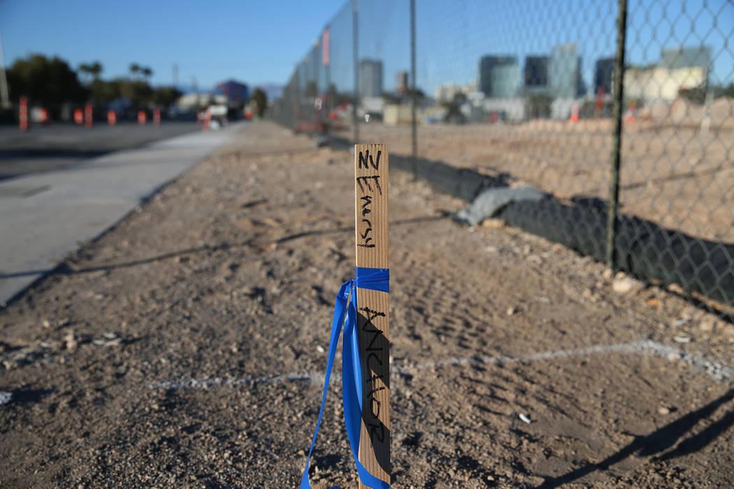 The site of the future Raiders football stadium in Las Vegas, Thursday, Feb. 15, 2018. Erik Verduzco Las Vegas Review-Journal @Erik_Verduzco