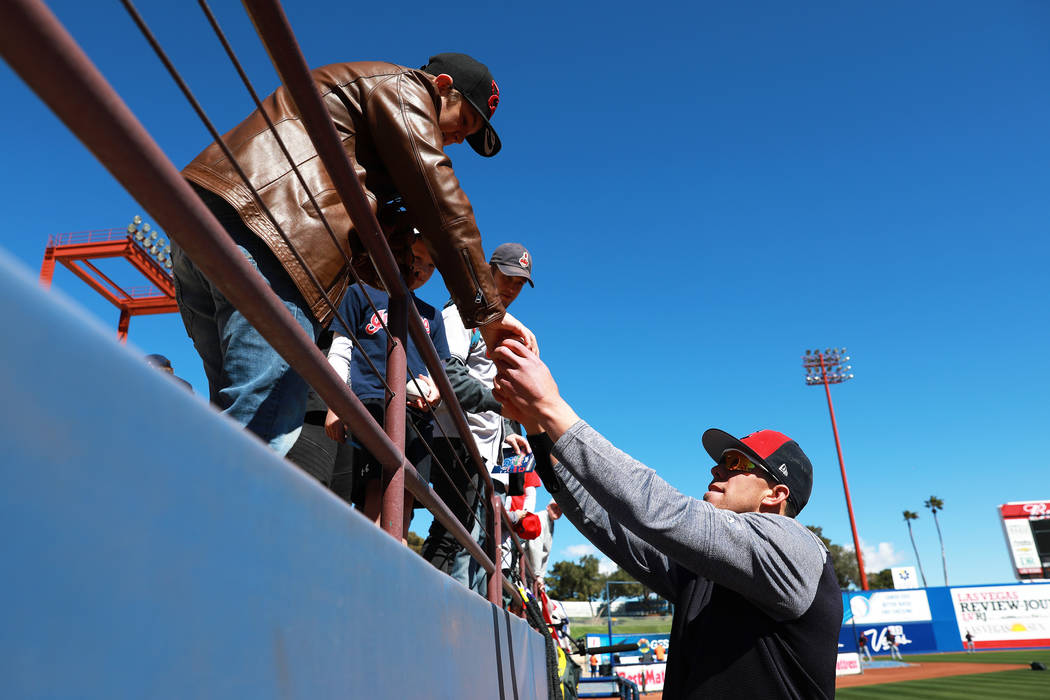 Cleveland Indians' Bradley Zimmer signs autographs before the annual Big League Weekend baseball game at Cashman Field in Las Vegas on Sunday, March 18, 2018. Andrea Cornejo Las Vegas Review-Journ ...