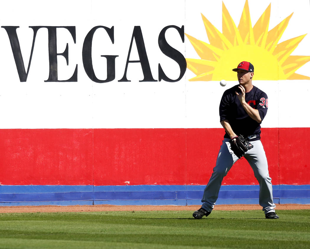 Cleveland Indians' Jeff Beliveau practices before the Big League Weekend baseball game at Cashman Field in Las Vegas on Sunday, March 18, 2018. Andrea Cornejo Las Vegas Review-Journal @DreaCornejo