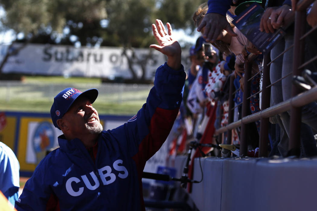 Mike Bryant, Krys Bryant's dad, waves to Chicago Cubs fans before the annual Big League Weekend baseball game at Cashman Field in Las Vegas on Sunday, March 18, 2018. Andrea Cornejo Las Vegas Revi ...