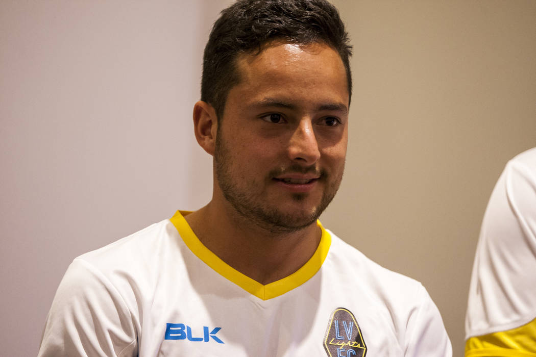 Las Vegas Lights FC forward Anuar Kanan (18). (Patrick Connolly Las Vegas Review-Journal @PConnPie) *Age: 22 *Hometown: Puebla, Mexico *Previous Club/Team: Young Harris College *Notable: Scored du ...