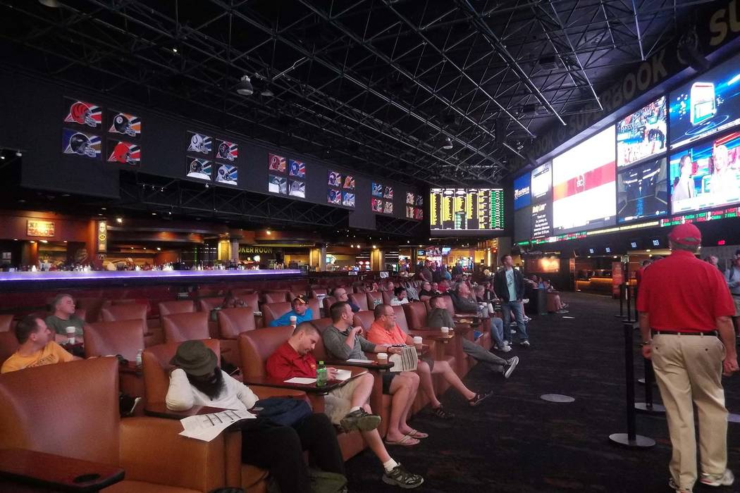 Basketball fans and bettors arrive early to claim their seats to watch the NCAA Tournament at the Westgate Las Vegas' sports book on Thursday, March 15, 2018. (Max Michor/Las Vegas Review-Journal)