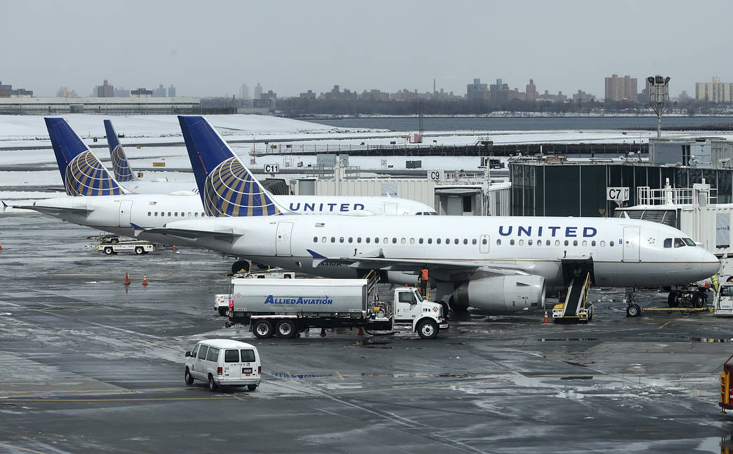 FILE - In this March 15, 2017, file photo, United Airlines jets sit on the tarmac at LaGuardia Airport in New York. A dog died on a United Airlines plane after a flight attendant ordered its owner ...