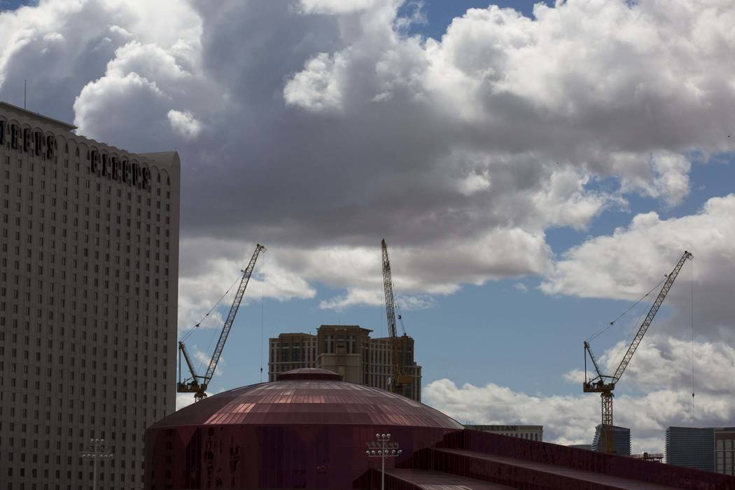 Clouds above Circus Circus on the Las Vegas Strip, Thursday, March 15, 2018. (Richard Brian/Las Vegas Review-Journal)