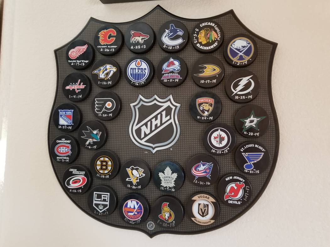 The plaque in Scott and Natalie Zucker's home commemorating son Jason's first goal against each NHL team. Excluding his own Minnesota Wild, Jason Zucker has scored against every team except the Go ...