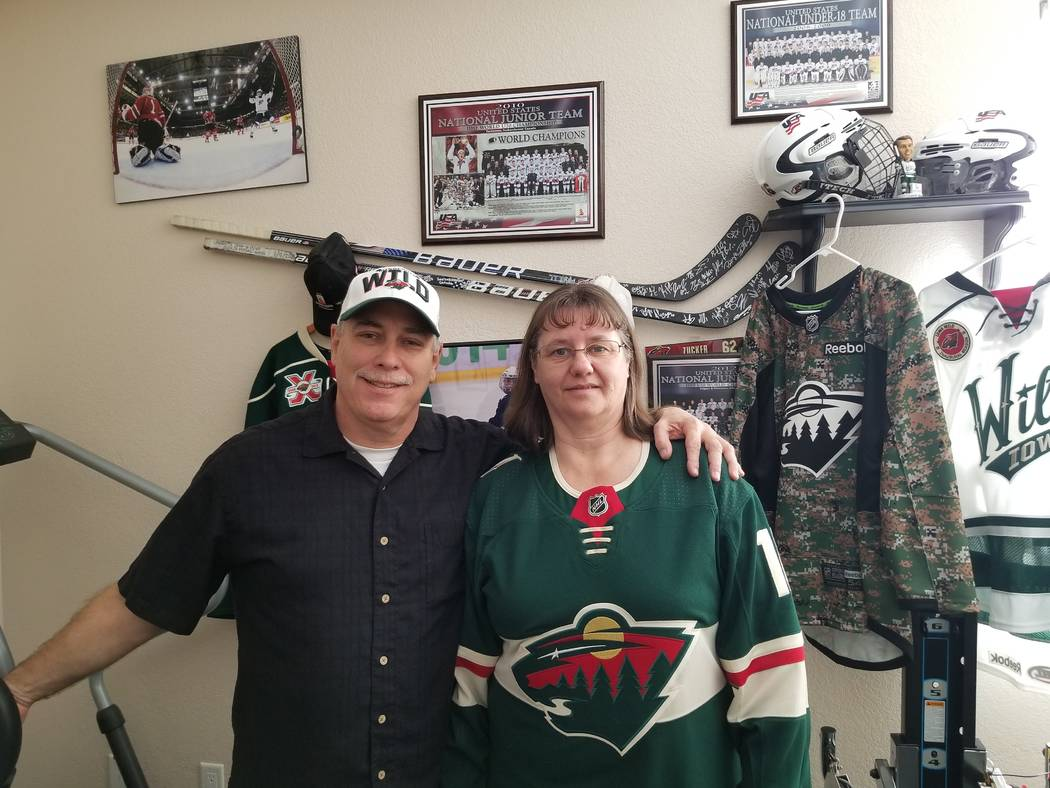 Scott and Natalie Zucker will watch son Jason play Friday at T-Mobile Arena when the Minnesota Wild take on the Golden Knights. Zucker is the only NHL player raised in Nevada. (David Schoen/Las Ve ...