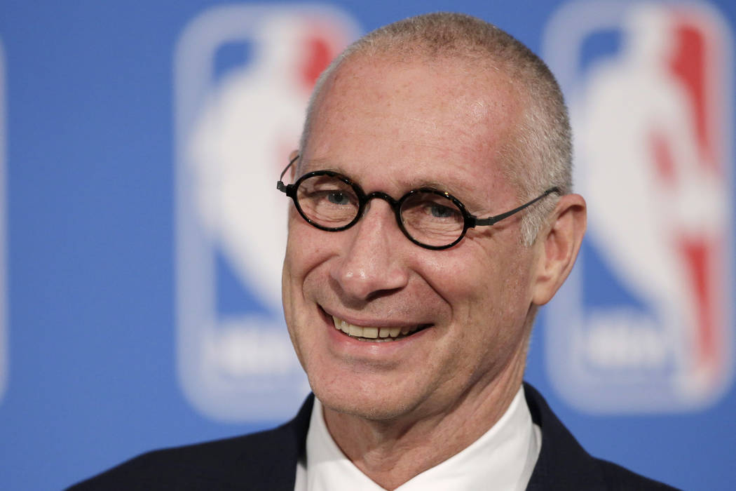 In this Oct. 6, 2014, file photo, ESPN President John Skipper smiles during a news conference in New York. (AP Photo/Mark Lennihan, File)