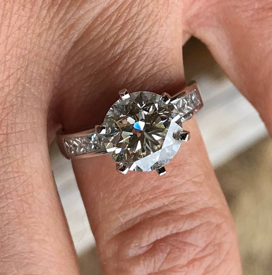 The 3.5-karat ring Andy Walmsley gave to Amy Rouse after proposing on Wednesday, March 14, 2018. (Andy Walmsley)