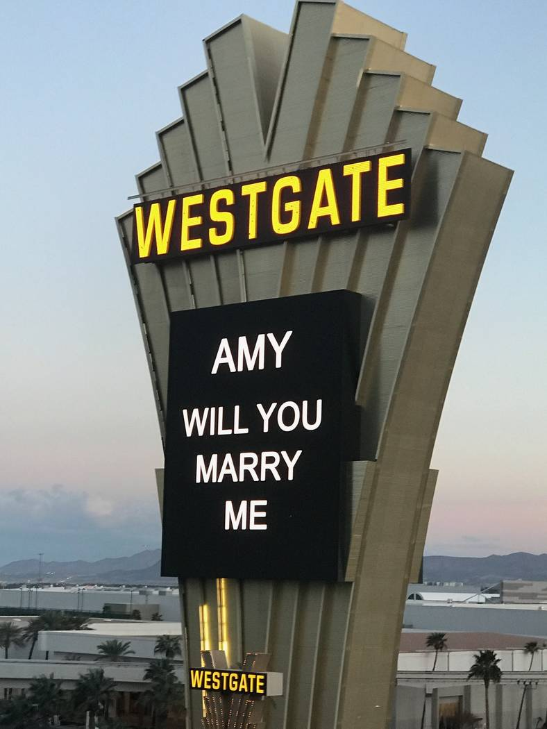 The Westgate Las Vegas marquee Andy Walmsley used to propose to Amy Rouse on Wednesday, March 14, 2018. (Andy Walmsley)