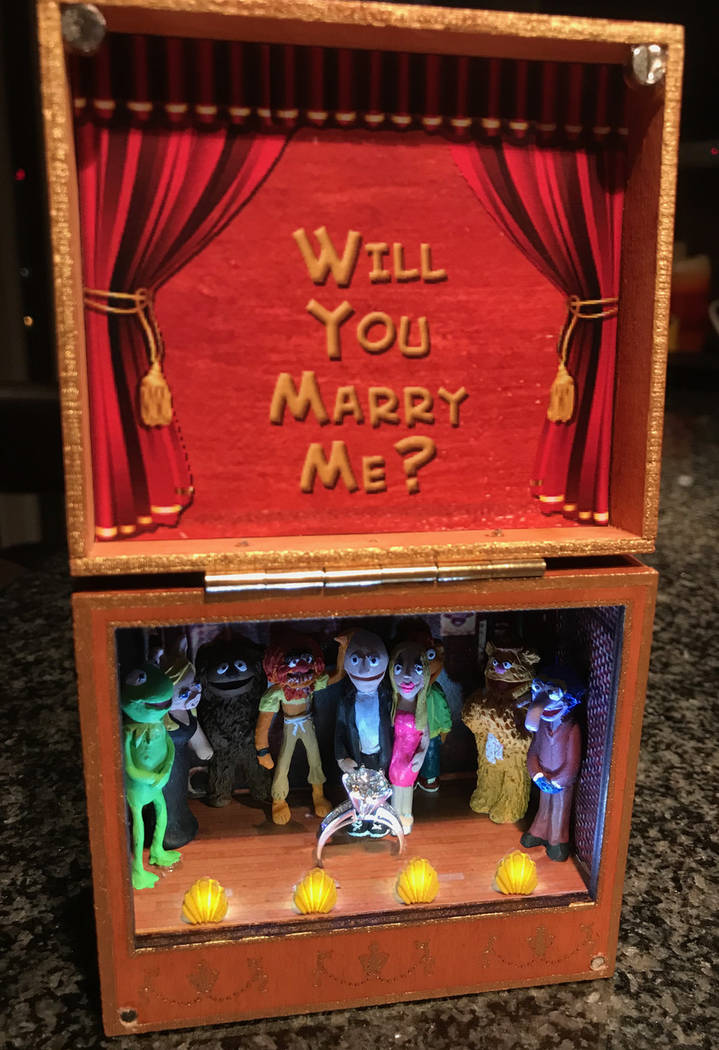 The Muppet-inspired jewelry box used by Andy Walmsley to propose to Amy Rouse on Wednesday, March 14, 2018. (Andy Walmsley)