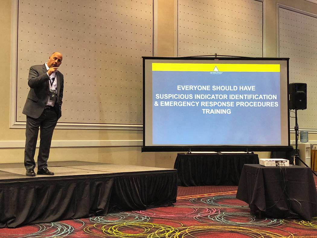 Mac Segal, head of hotel and fixed site security consulting at AS Solution, presenting at the World Game Protection Conference at Bally's on March 14. (Todd Prince/Las Vegas Review-Journal)