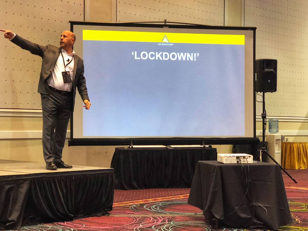 Mac Segal, speaking at a security conference on March 14, said employees generally do not know their company's emergency plans. (Todd Prince/Las Vegas Review-Journal)