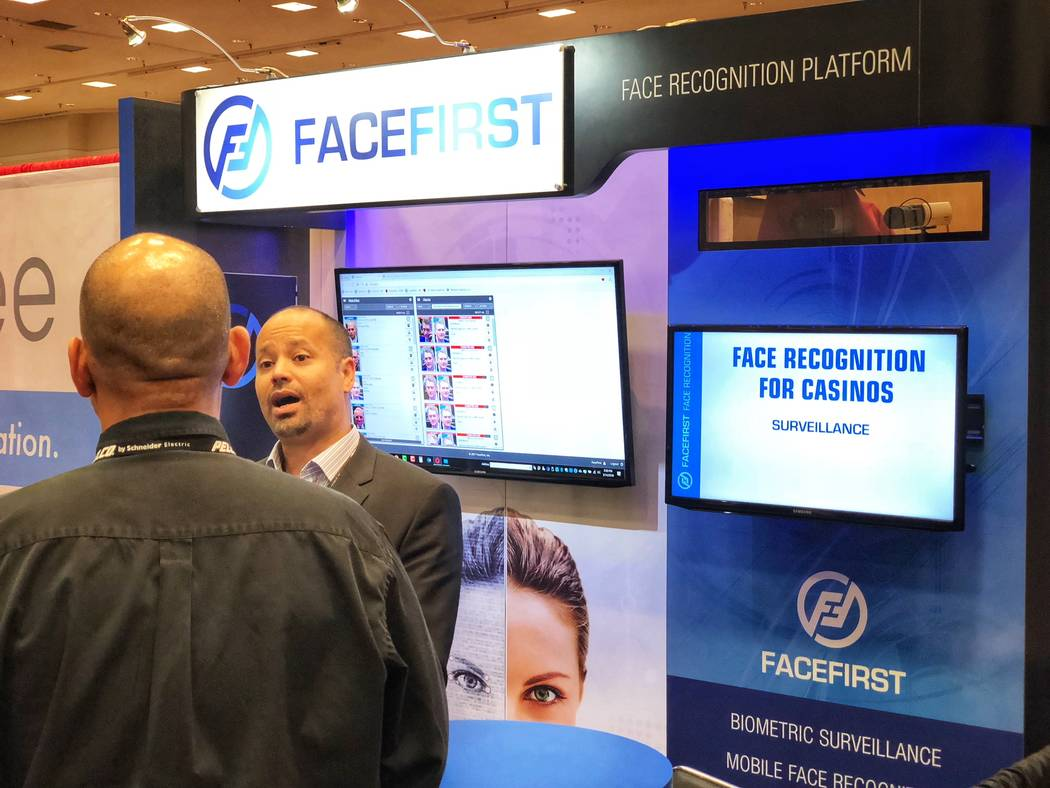 World Game Protection Conference at Bally's, seen Thursday, March 15, 2018, in Las Vegas, attracted several companies offering facial- recognition technology. (Todd Prince/Las Vegas Review-Journal)