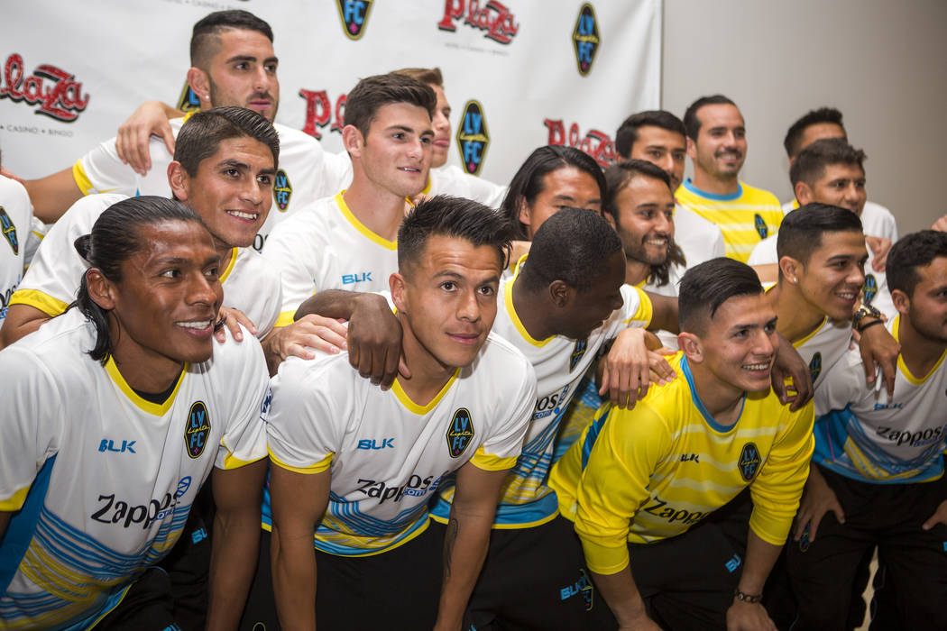 Players come together for a group photo at the Las Vegas Lights FC season kickoff party at the Plaza in downtown Las Vegas on Wednesday, March 14, 2018.  Patrick Connolly Las Vegas Review-Journal  ...