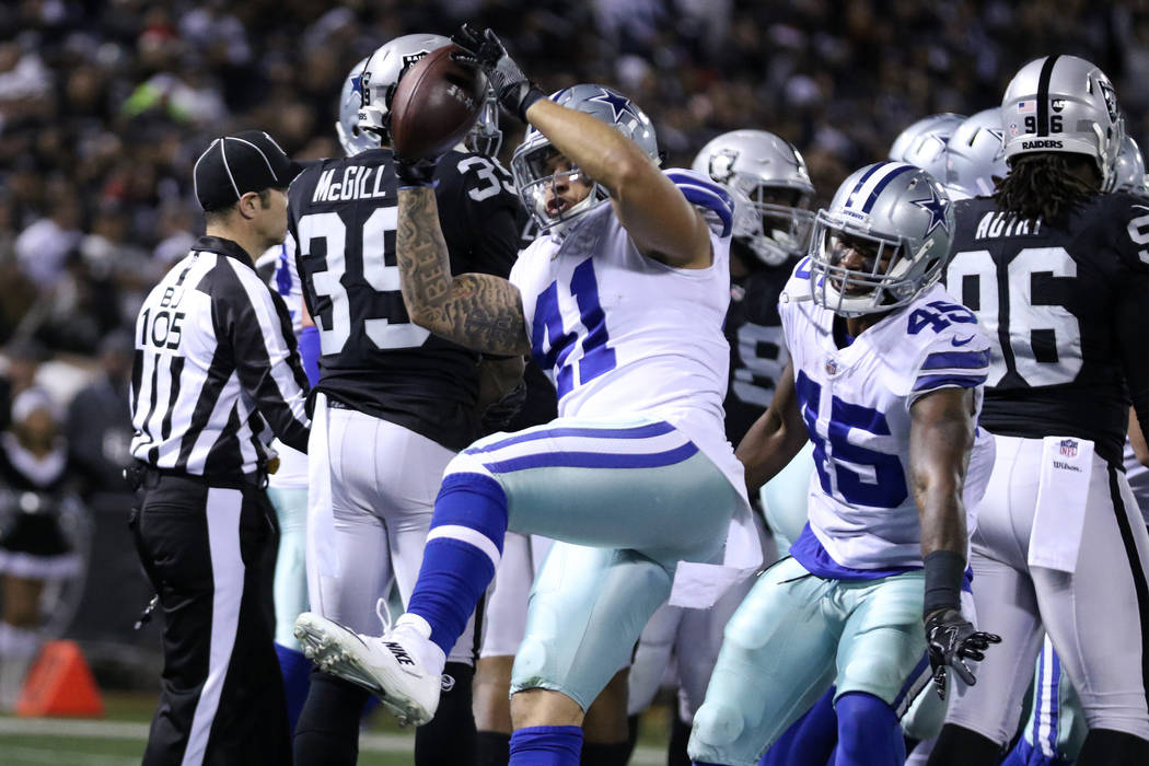 Dallas Cowboys fullback Keith Smith (41) spikes the football after running back Rod Smith (45) scores during the first half of a NFL game against the Oakland Raiders in Oakland, Calif., Sunday, De ...