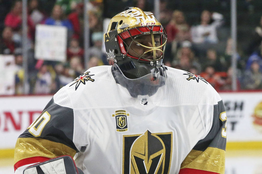 Vegas Golden Knights goaltender Malcolm Subban warms up before the first period of an NHL hockey game against the Minnesota Wild Friday, Feb. 2, 2018, in St. Paul, Minn. (AP Photo/Jim Mone)