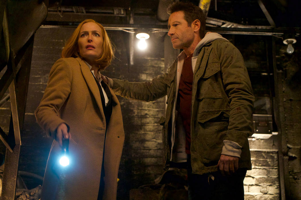 "Gillian Anderson and David Duchovny in ""The X-Files,"" airing Wednesday. (Shane Harvey/FOX)"