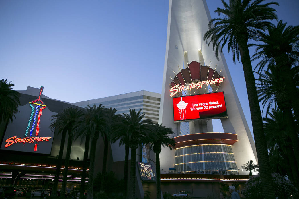 The Stratosphere hotel-casino on Monday, June 12, 2017, in Las Vegas. Golden Entertainment, operators of the PT's Pubs chain, is acquiring a company that owns four Nevada casinos, including the St ...