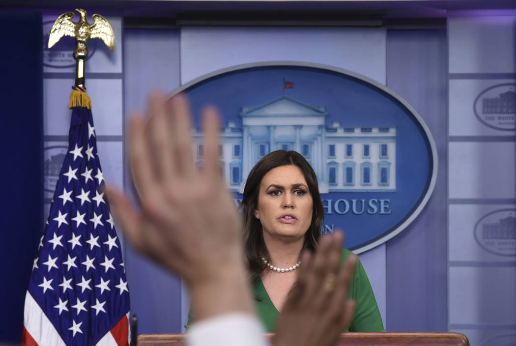 White House press secretary Sarah Huckabee Sanders speaks during the daily briefing at the White House in Washington, Thursday, March 15, 2018. Sanders answered questions about Russia, tariffs and ...