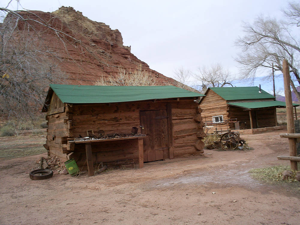 Two of the many outbuildings that can be found at Lonely Dell Ranch Historic Site. (Deborah Wall)
