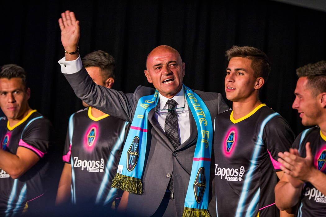 Las Vegas Lights FC soccer coach Jose Luis Sanchez Sola makes an appearance during a jersey reveal for the Las  at the Zappos Downtown campus on Las Vegas Boulevard on Wednesday, Feb. 7, 2018.  Pa ...