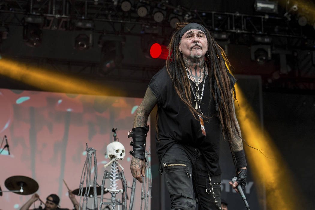 Al Jourgensen of Ministry performs during the Rock On The Range festival at Columbus Crew Stadium on May 16, 2015, in Columbus, Ohio. (Photo by Amy Harris/Invision/AP)