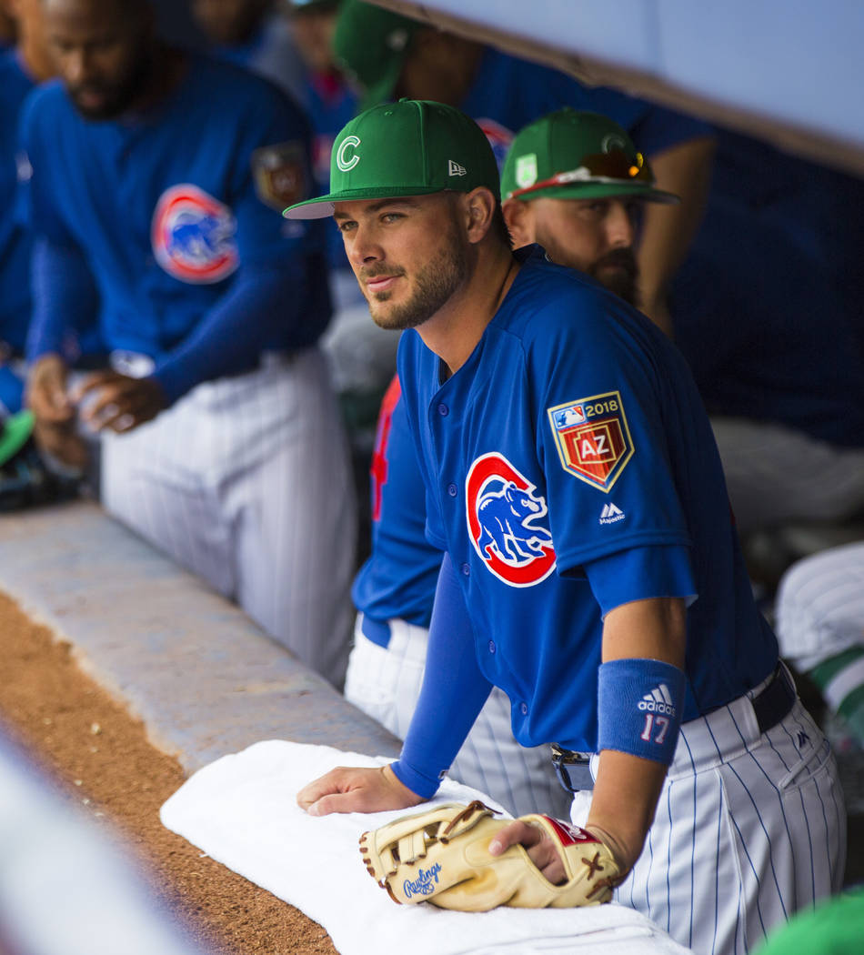 Chicago Cubs third baseman Kris Bryant (17) in the dugout before playing the Cleveland Indians in the annual Big League Weekend baseball game at Cashman Field in Las Vegas on Saturday, March 17, 2 ...