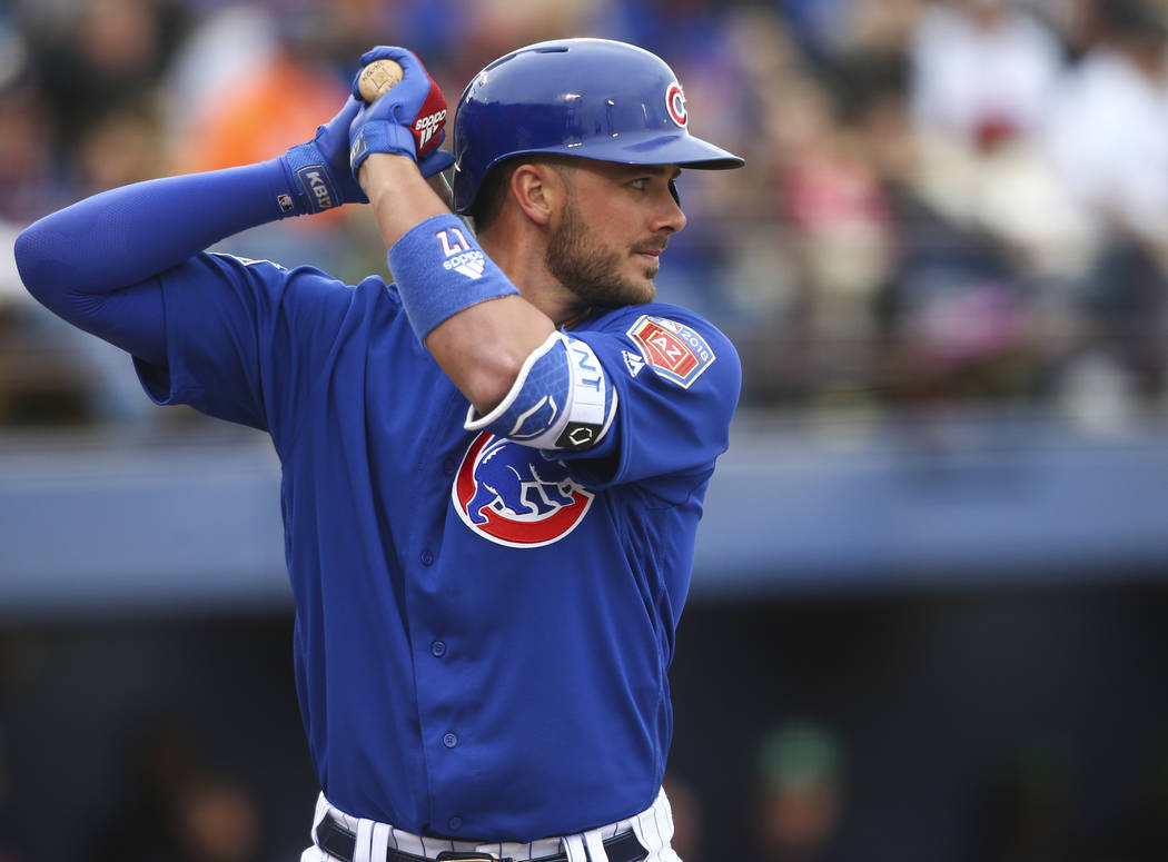 Chicago Cubs third baseman Kris Bryant prepares to bat against the Cleveland Indians during the annual Big League Weekend baseball game at Cashman Field in Las Vegas on Saturday, March 17, 2018. C ...