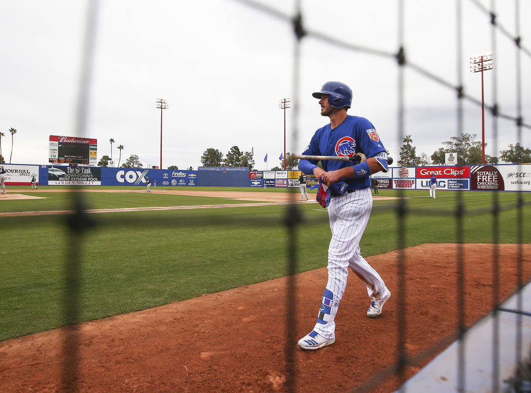 Chicago Cubs third baseman Kris Bryant gets ready to bat against the Cleveland Indians during the annual Big League Weekend baseball game at Cashman Field in Las Vegas on Saturday, March 17, 2018. ...