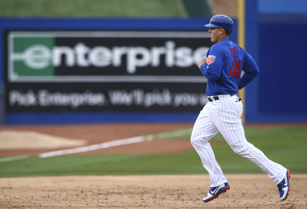 Chicago Cubs first baseman Anthony Rizzo (44) heads for third base while playing the Cleveland Indians during the annual Big League Weekend baseball game at Cashman Field in Las Vegas on Saturday, ...