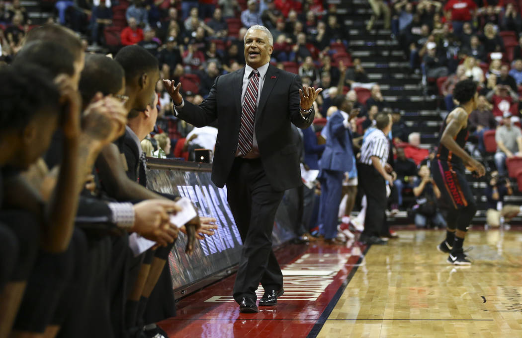 UNLV Rebels head coach Marvin Menzies reacts as his team trails New Mexico Lobos in the final moments of a basketball game at Thomas & Mack Center in Las Vegas on Wednesday, Jan. 17, 2018. New ...