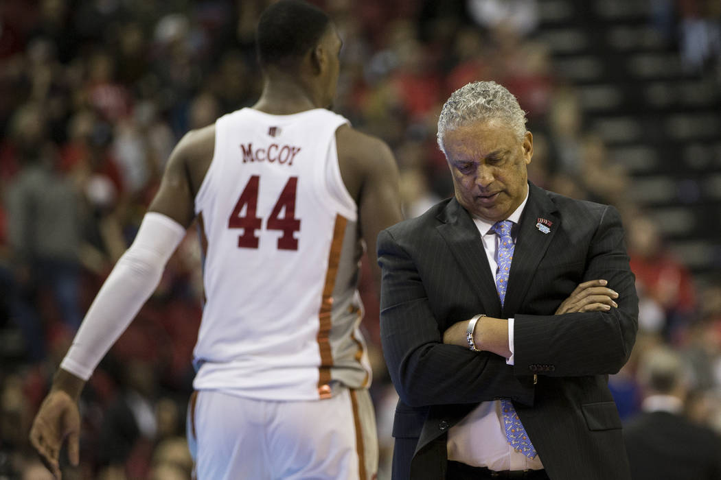 UNLV Rebels head coach Marvin Menzies reacts during the game against the San Diego State Aztecs at the Thomas & Mack Center in Las Vegas, Saturday, Jan. 27, 2018. UNLV won 88-78. Erik Verduzco ...