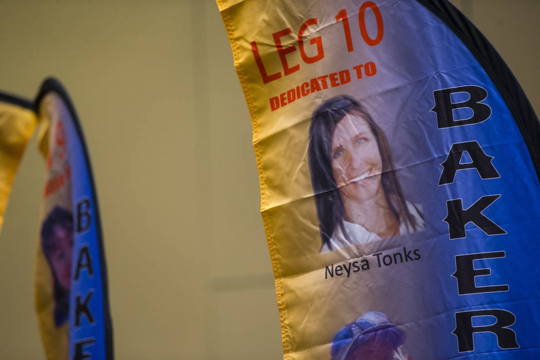 Neysa Tonks is among the victims remembered in a presentation of flags bearing the names and photos of the victims of the Oct. 1 shooting at the Westgate in Las Vegas on Thursday, March 15, 2018.  ...