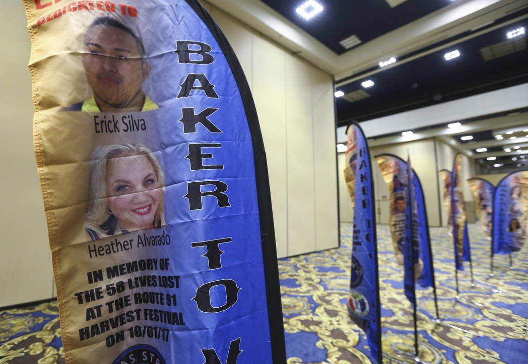 Erick Silva and Heather Alvarado are among the victims remembered in a presentation of flags bearing the names and photos of the victims of the Oct. 1 shooting at the Westgate in Las Vegas on Thur ...