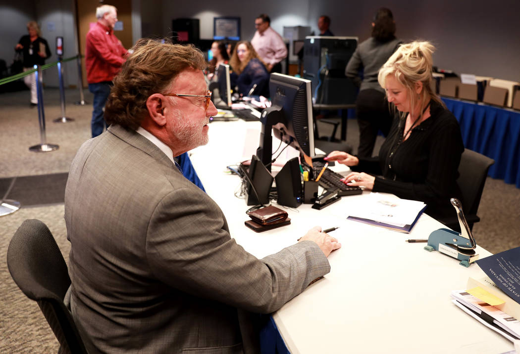 Robert Langford files for candidacy for district attorney at the Clark County Government Center in Las Vegas on Friday, March 16, 2018. Andrea Cornejo Las Vegas Review-Journal @DreaCornejo