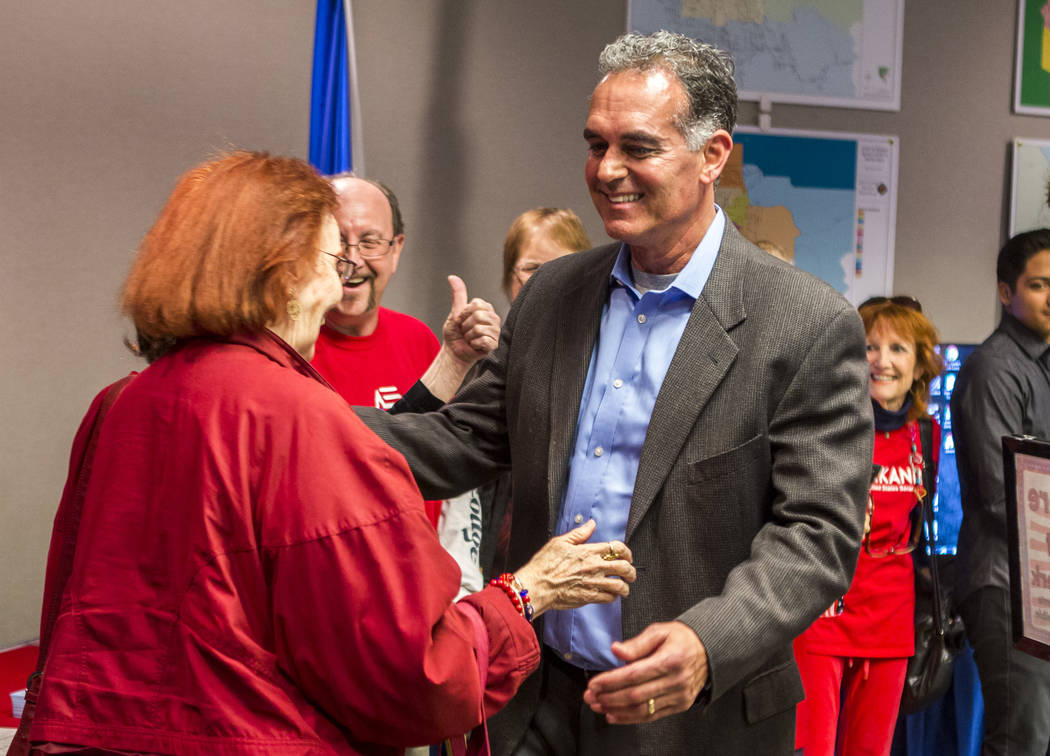 Danny Tarkanian greets a supporter before filiing for his candidacy for the 3rd Congressional District of Nevada at the Clark County Government Center in Las Vegas on Friday, March 16, 2018, after ...
