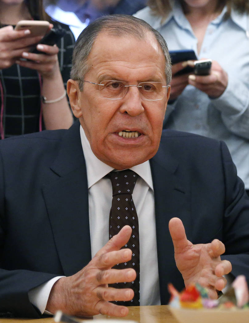 FILE - In this Tuesday, March 13, 2018 file photo, Russian Foreign Minister Sergey Lavrov gestures during a meeting with South Korean head of National Security Chung Eui-yong at the Russian foreig ...
