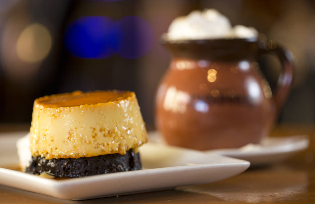 The choco flan and cafe de olla desert at Leticia's Mexican Cocina located at Tivoli Village at Queensridge in Las Vegas on Monday, March 19, 2018. Richard Brian Las Vegas Review-Journal @vegaspho ...