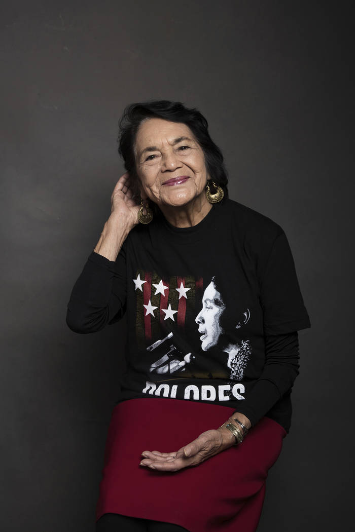 """Dolores Huerta poses for a portrait to promote the film, """"Dolores"""", at the Music Lodge during the Sundance Film Festival on Friday, Jan. 20, 2017, in Park City, Utah. (Photo by Taylor Je ..."""
