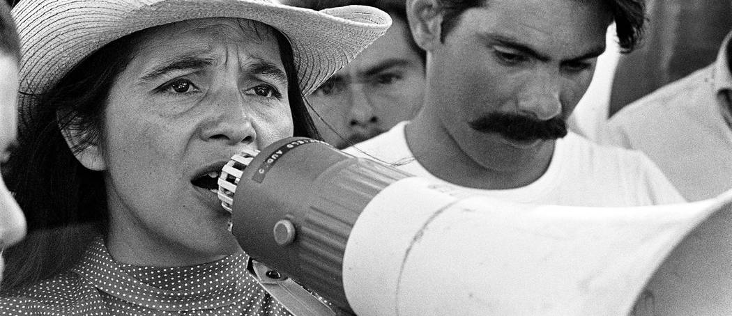 United Farm Workers leader Dolores Huerta organizing marchers on the 2nd day of March Coachella in Coachella, CA 1969. Courtesy of © 1976 George Ballis / Take Stock / The Image Works