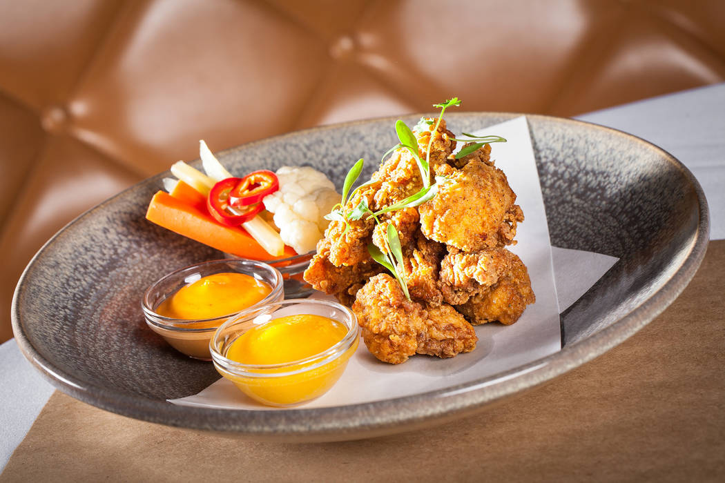 Moroccan Fried Chicken is served with apricot mustard and harissa aioli (SLS Las Vegas)