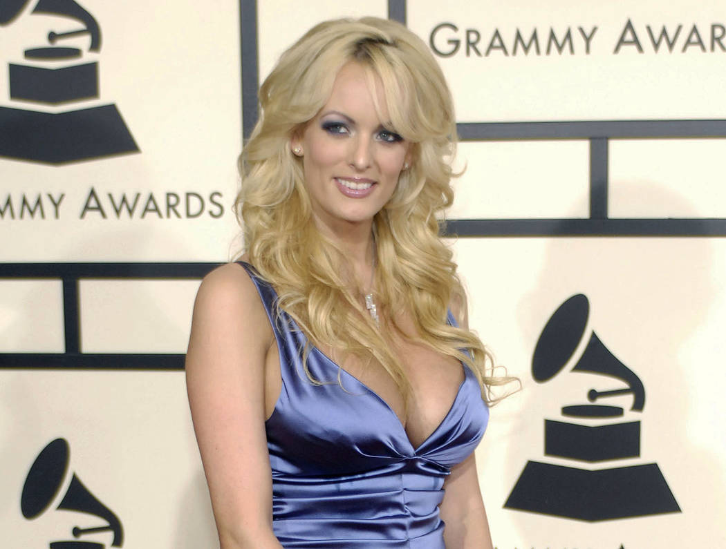 """In this Feb. 10, 2008 file photo, adult film star Stormy Daniels arrives at the 50th Annual Grammy Awards in Los Angeles. CBS News President David Rhodes says that a """"60 Minutes"""" interview with Da ..."""