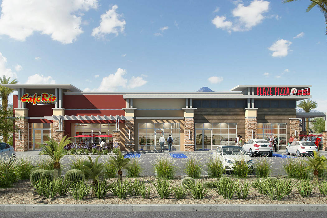 Construction is expected to start April 9 on Cafe Rio, Blaze Pizza and other restaurants on Craig Road and Bruce Street in North Las Vegas. (Darryll Brandwine, d3 Design Studios)