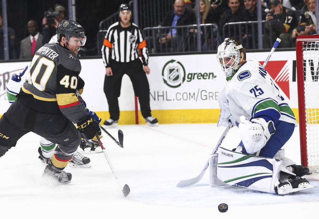 Golden Knights center Ryan Carpenter (40) and Vancouver Canucks goaltender Jacob Markstrom (25) watch the puck slide by during the third period of an NHL hockey game at T-Mobile Arena in Las Vegas ...