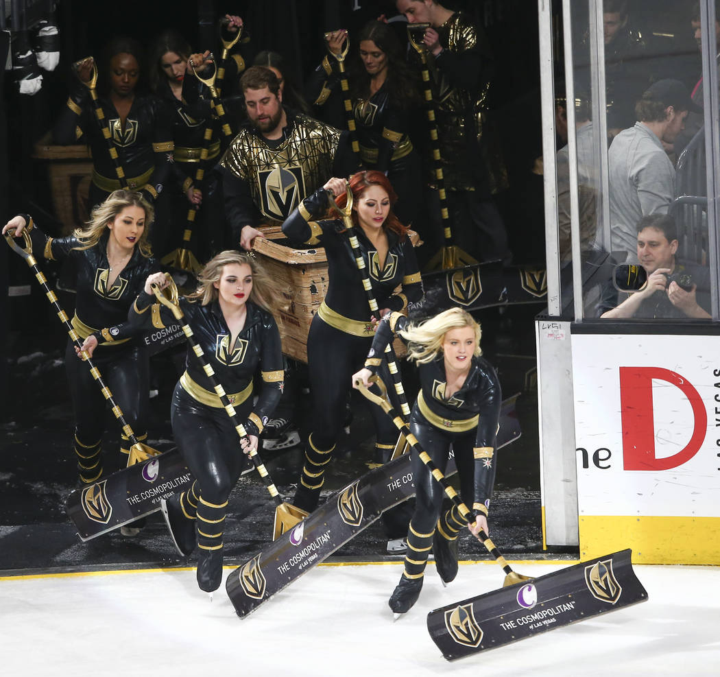 The Golden Knights ice crew during the second period of an NHL hockey game at T-Mobile Arena in Las Vegas on Tuesday, March 20, 2018. Chase Stevens Las Vegas Review-Journal @csstevensphoto