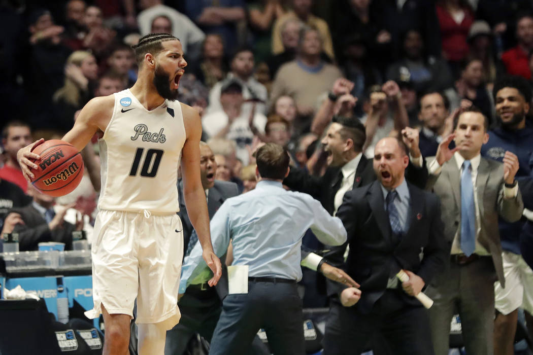 Nevada Forward Caleb Martin  Reacts After Defeating Texas In Overtime Of A First